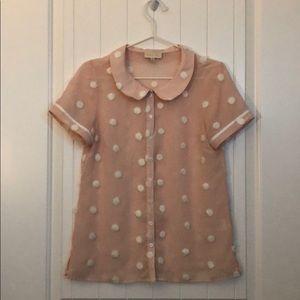 ModCloth textured polka dot button-up blouse top